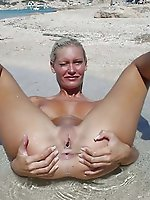 Extravagant aged milf posing naked in public