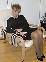 Charming mature female posing naked in public