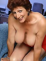 Fresh older damsel having enormous breasts