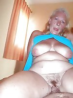 Fiery old chick in her solo play