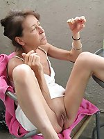 Amateur aged mistresses posing naked outdoor