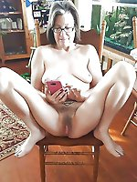 Raunchy mature lady playing alone
