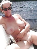 Aged granny showing off her holes