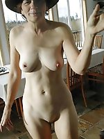 Immoral aged woman having fun