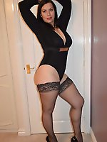 Slut Whore Brunette in Black Leotard & Stockings